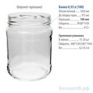 Банка 0,95 л 1 литр стеклянная купить спб с широким горлом