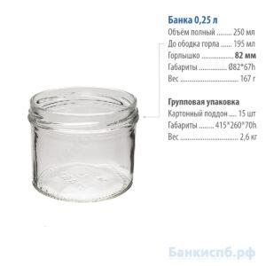 Банка 0,25 л 250 мл стеклянная прямые ровные стенки купить спб артикул 06-82-2506
